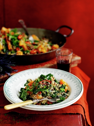 Fried rice with kale, squash & chestnuts