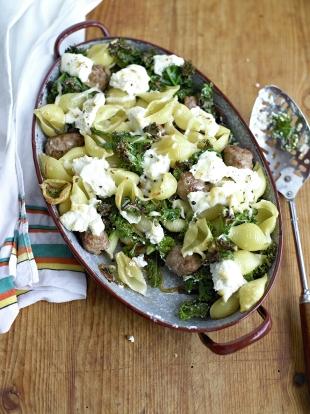 Sausage, kale & ricotta bake