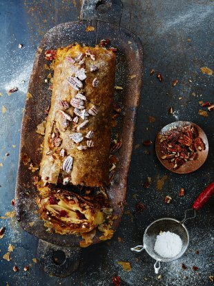 Quick apple and pecan strudel with cinnamon