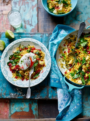 Spiced veggie rice with poached eggs