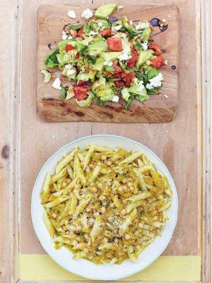 Winter squash penne, mint & avocado chopped salad