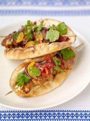 Saffron-spiked chicken kebabs