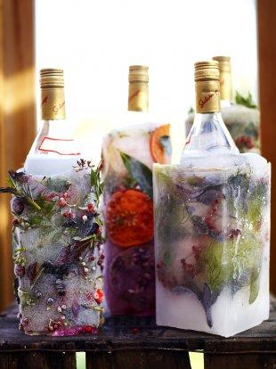 Frozen festive vodka bottle