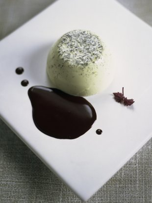 Green tea and vanilla pannacotta with chocolate sauce