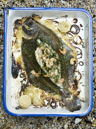 Prawn-stuffed flatfish