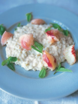 Sweet vanilla risotto with poached peaches and chocolate
