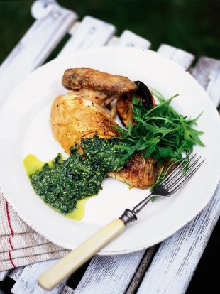 Roast chicken and pesto