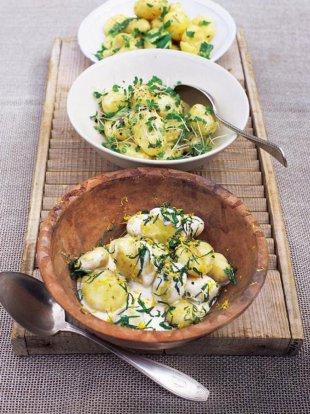 New potato salad with garlic mayonnaise and cress