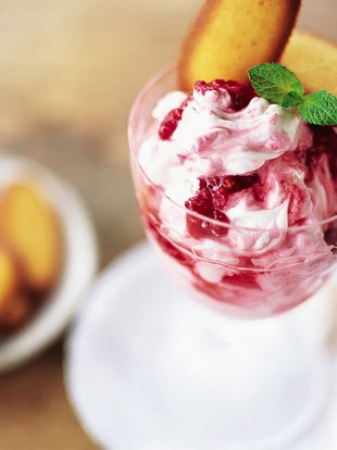 Raspberry syllabub with langues de chat