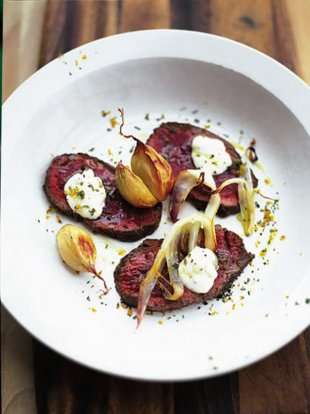 Venison carpaccio with orange and horseradish
