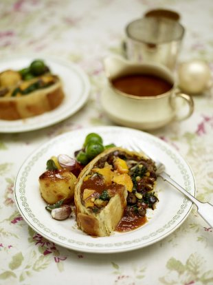 Mushroom and squash vegetarian Wellington