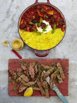 Grilled steak ratatouille & saffron rice