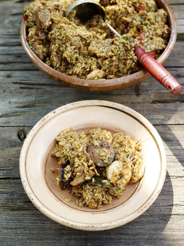 Chicken, sausage & prawn jambalaya