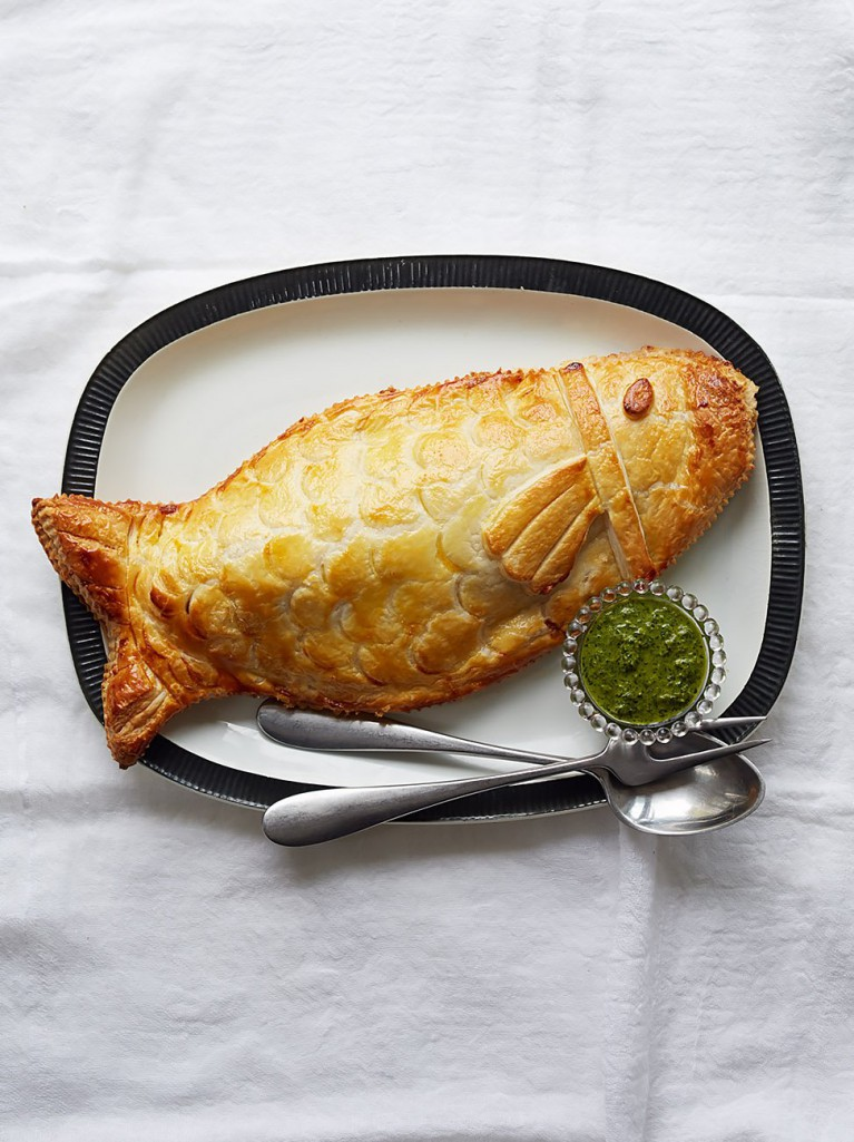 Sea bass in puff pastry jamie oliver for Turkish sea bass recipe