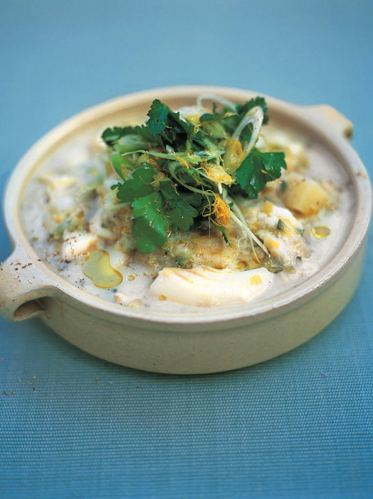 Cod, potato and spring onion stew