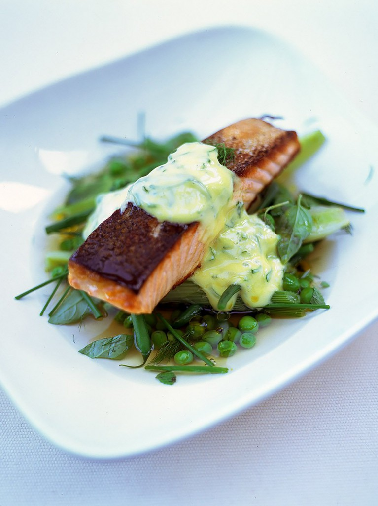 Crispy fried salmon with spring vegetable broth