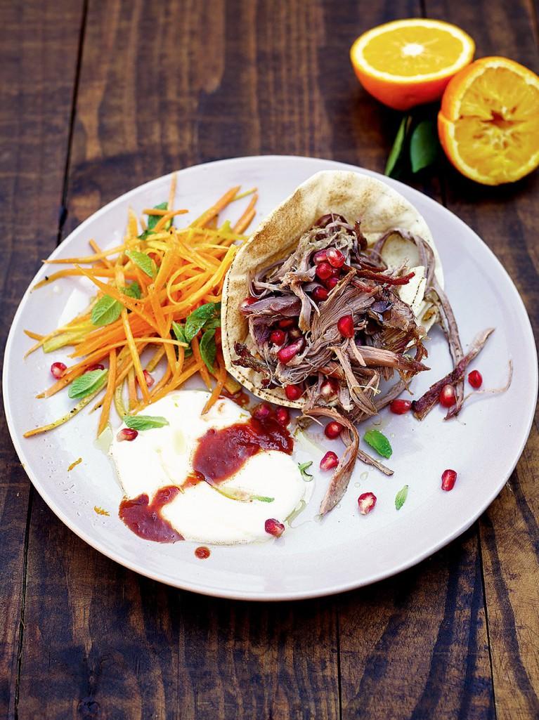 Mechoui lamb with carrot and orange salad