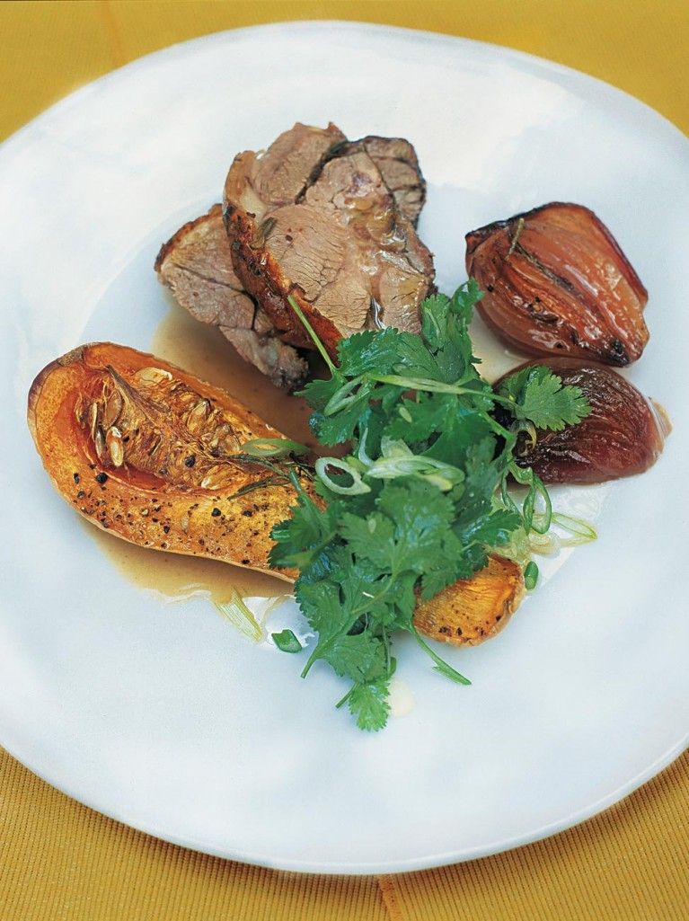 Braised Lamb With Roasted Squash And Onion Sauce