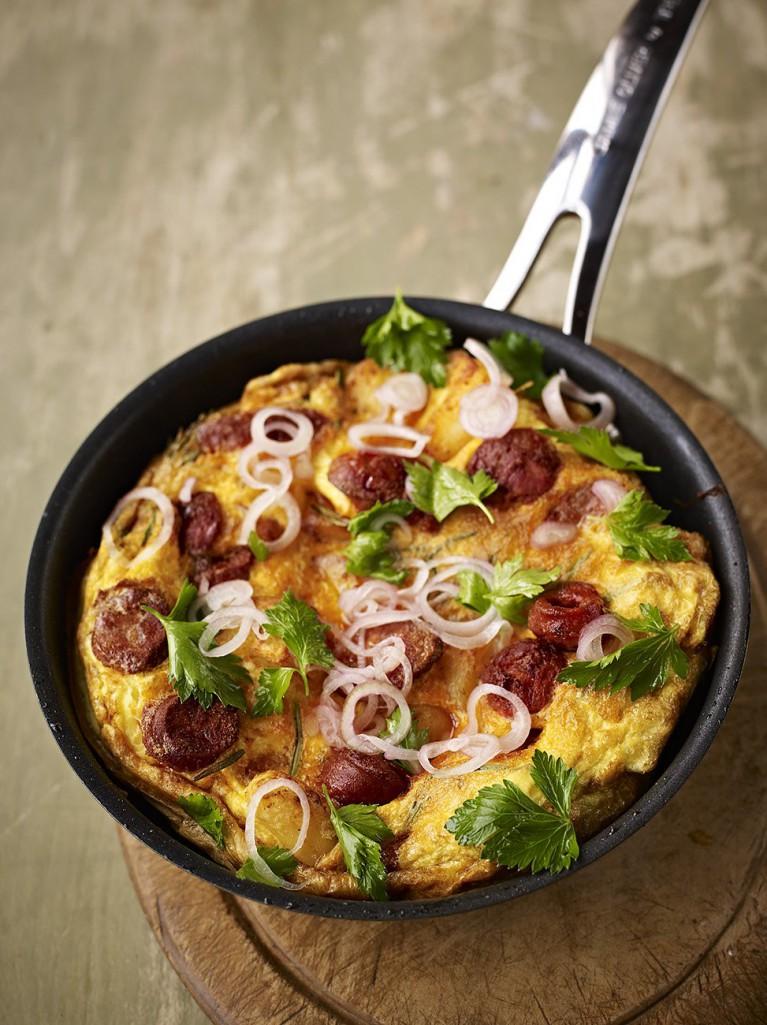 Potato and chorizo omelette with a kinda parsley salad