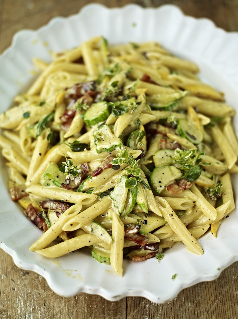 courgette carbonara pasta recipes jamie oliver recipes
