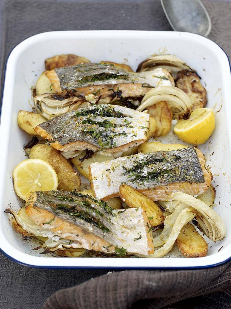 Quick salmon and potato al forno