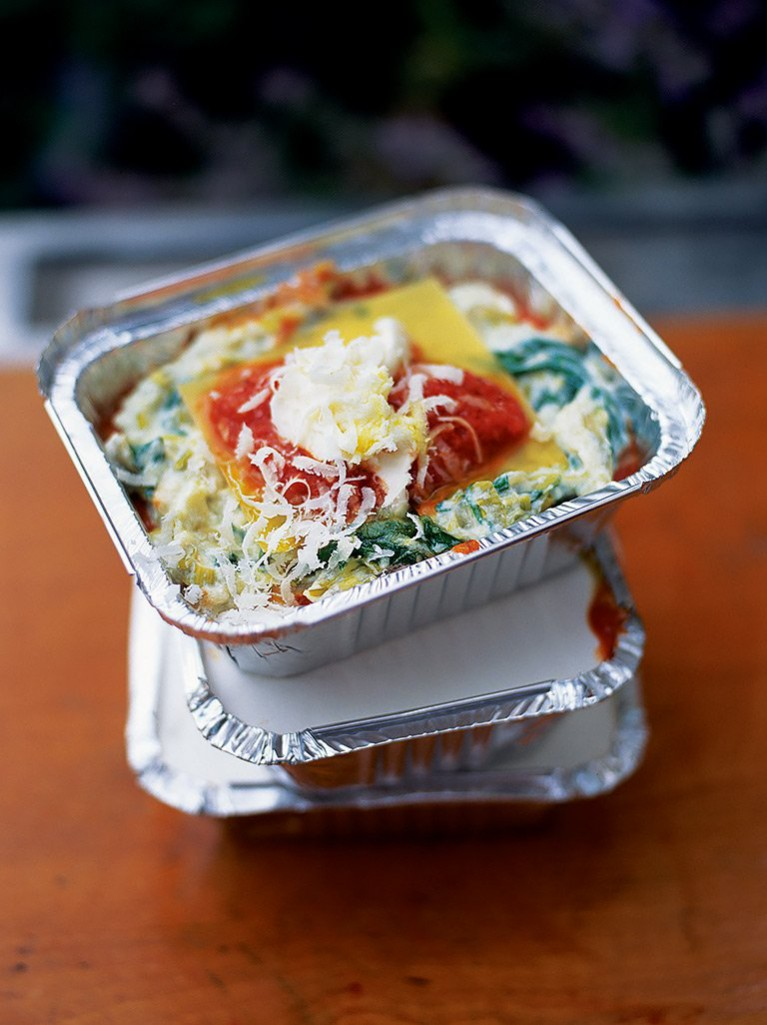 Sweet leek, ricotta and tomato lasagne