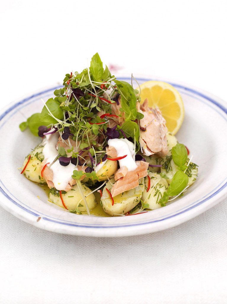 Warm salmon and Jersey Royal salad