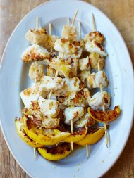 Chargrilled monkfish kebabs