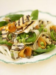 Grilled halloumi, spinach and toasted seed salad