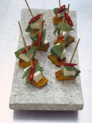 Mozzarella and squash skewers