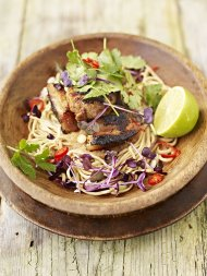 My favourite hot and sour rhubarb and crispy pork with noodles