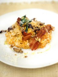 Roast squash, sage, chestnut and pancetta risotto