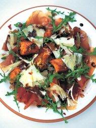 Warm salad of roasted squash, prosciutto and pecorino