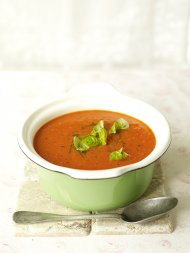 'Abundance' tomato soup with basil oil