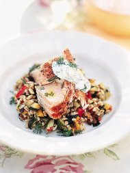 Simple baked salmon with dill yoghurt