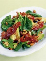Avocado, pancetta & pine nut salad