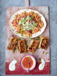 Crackin' crab briks with couscous salad & salsa