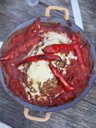 Pork meatloaf, spaghetti sauce