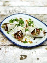 Cajun rice & barbecue turkey burrito
