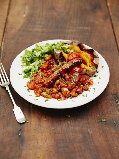 Jools' sausage & smoky bean casserole