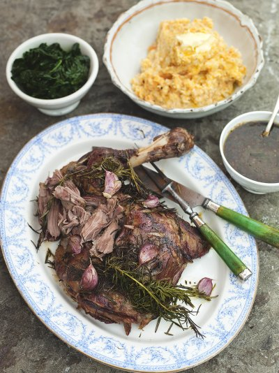 Incredible roasted shoulder of lamb with smashed veg and greens