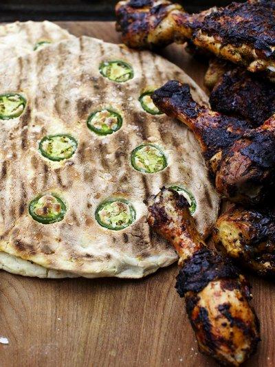 Levi Roots-stylee jerk chicken & jalapeno breads