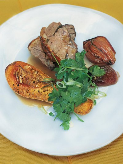 Pot-roasted shoulder of lamb with roasted butternut squash and sweet red onions