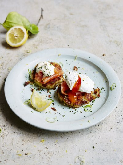 Potato cakes with smoked salmon