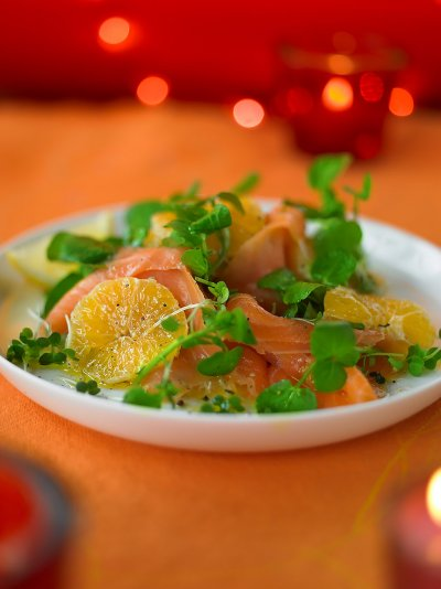 Smoked salmon with clementines