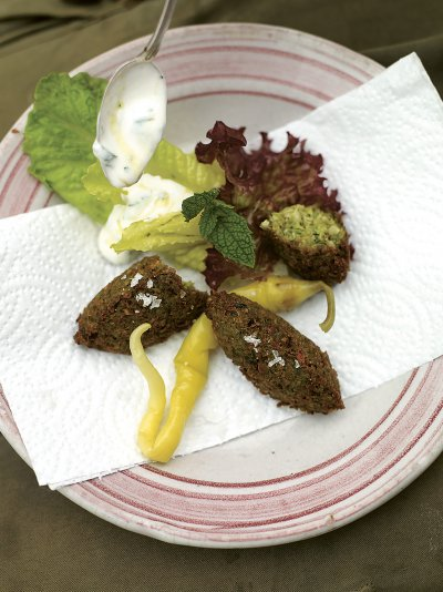 Spicy broad bean fritters with lemon minted yoghurt