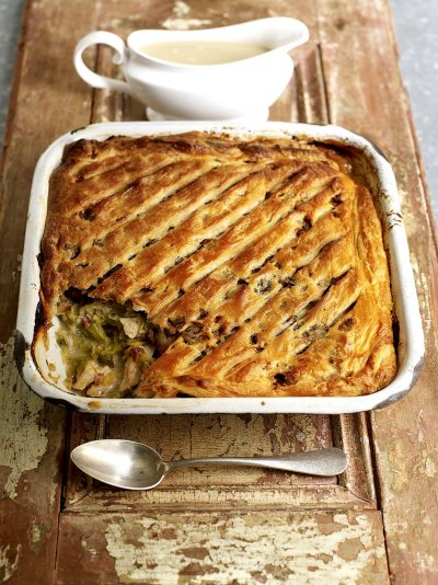 Turkey and sweet leek pie