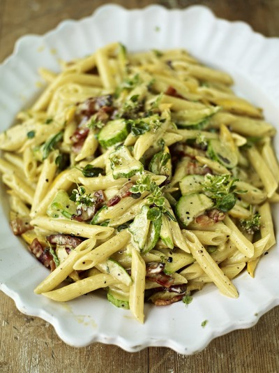 Beautiful courgette carbonara