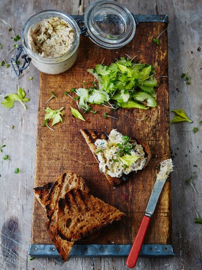 Smoked mackerel pate with griddled toast and cress salad
