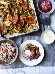Rice & peas with jerk roasted veg